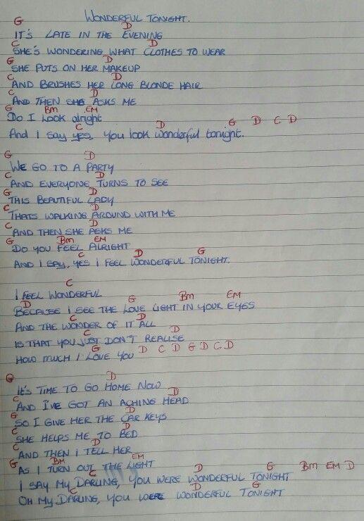Chords & Lyrics - Wonderful Tonight - Eric Clapton   tink ...