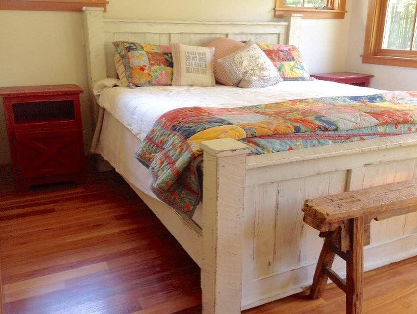 Rusic Wood Bed Frame Off White Cream Wood Bed Frame House