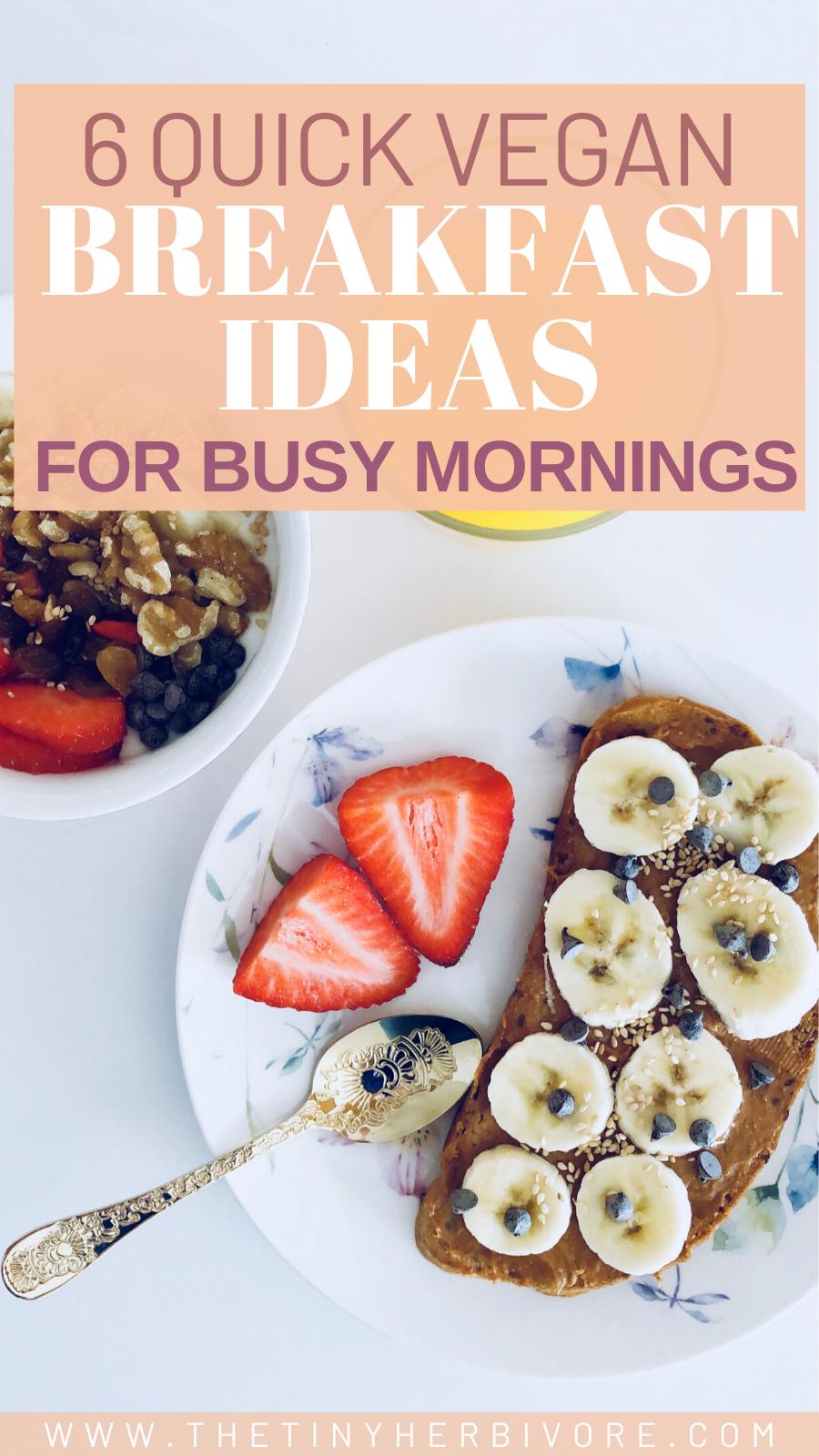 6 Quick Vegan Breakfast Ideas For Busy Mornings The Tiny Herbivore In 2020 Quick Vegan Breakfast Vegan Breakfast Easy Morning Food