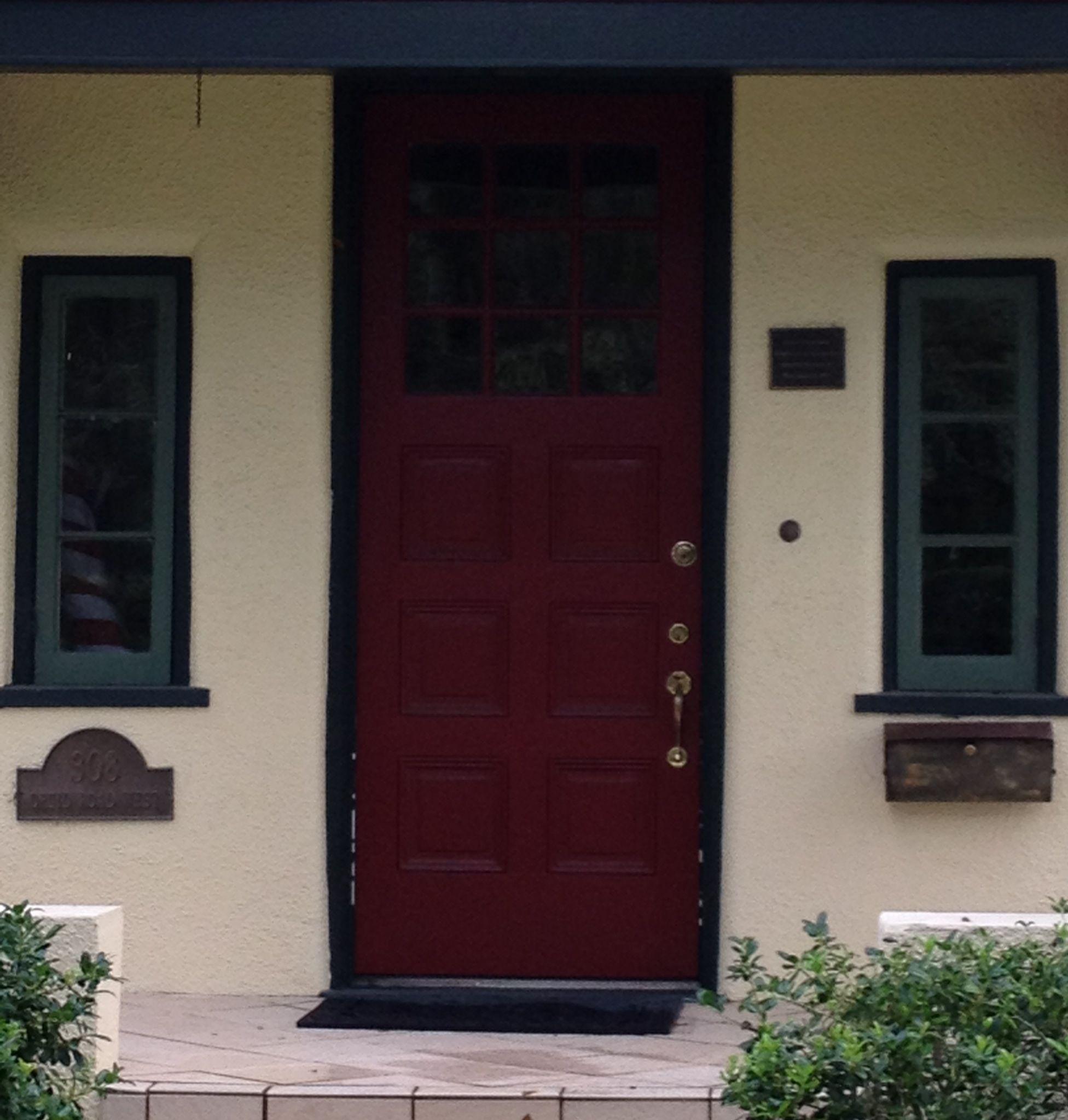 red door yellow house green trim | house ideas | pinterest