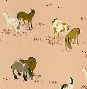 SALE Heather Ross West Hill Ponies on Pink. via Etsy.