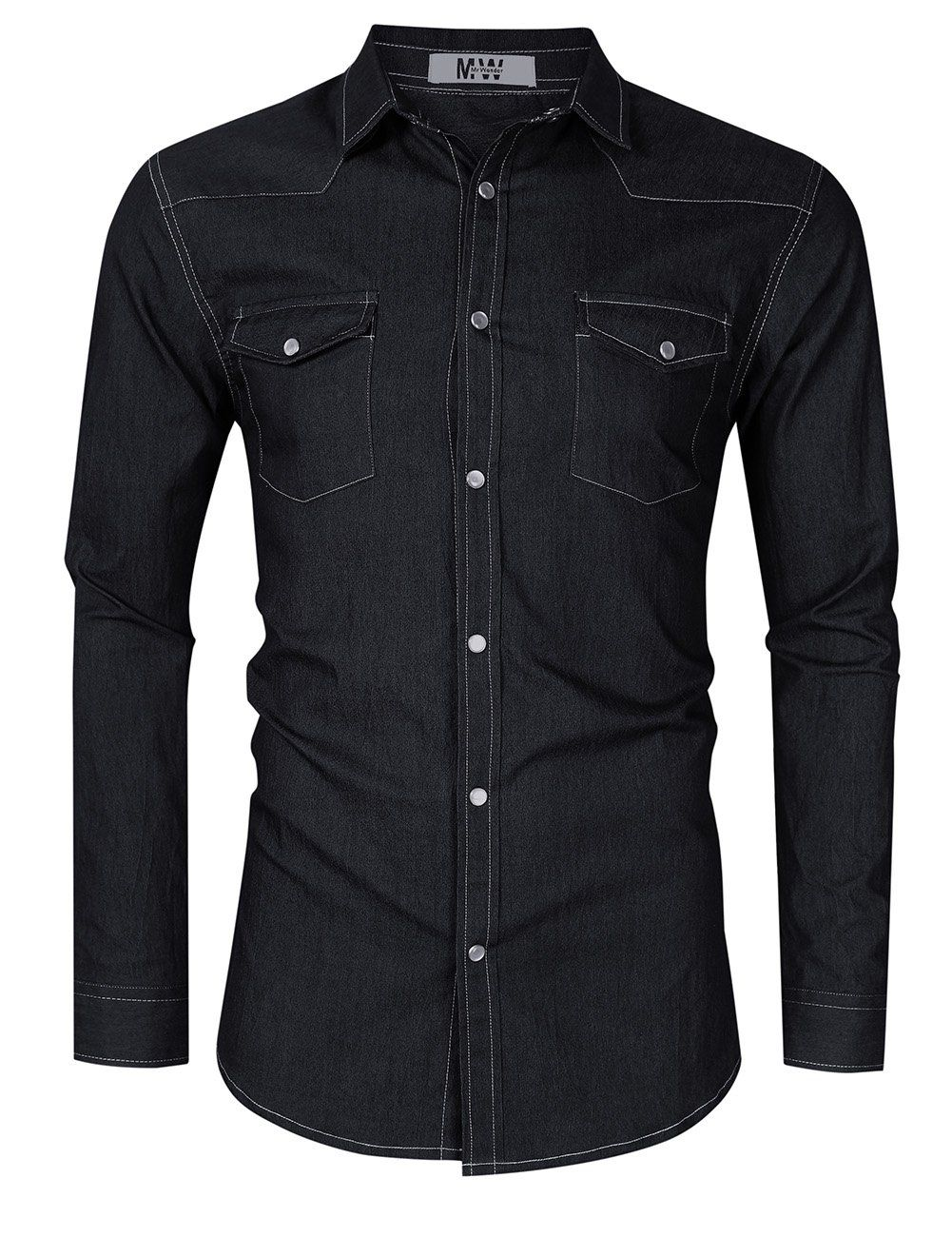 7d7ba9cd9c8 MrWonder Mens Casual Slim Fit Button Down Shirt Long Sleeve Denim Shirts  Western Grey L   Details can be found by clicking on the image.