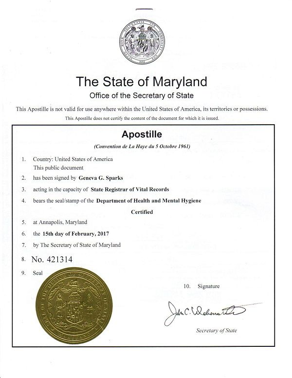 this is a sample of a maryland apostille issued by the