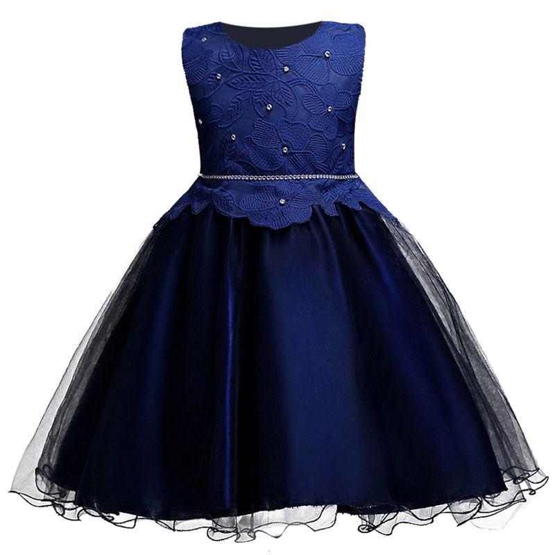 Barato High grade Bordado Vestido Da Menina Flor Azul Cor Crianças  Casamento Vestido de Festa de Verão Sem Mangas Princesa Vestidos de Baile  para Meninas 033ecf24323c