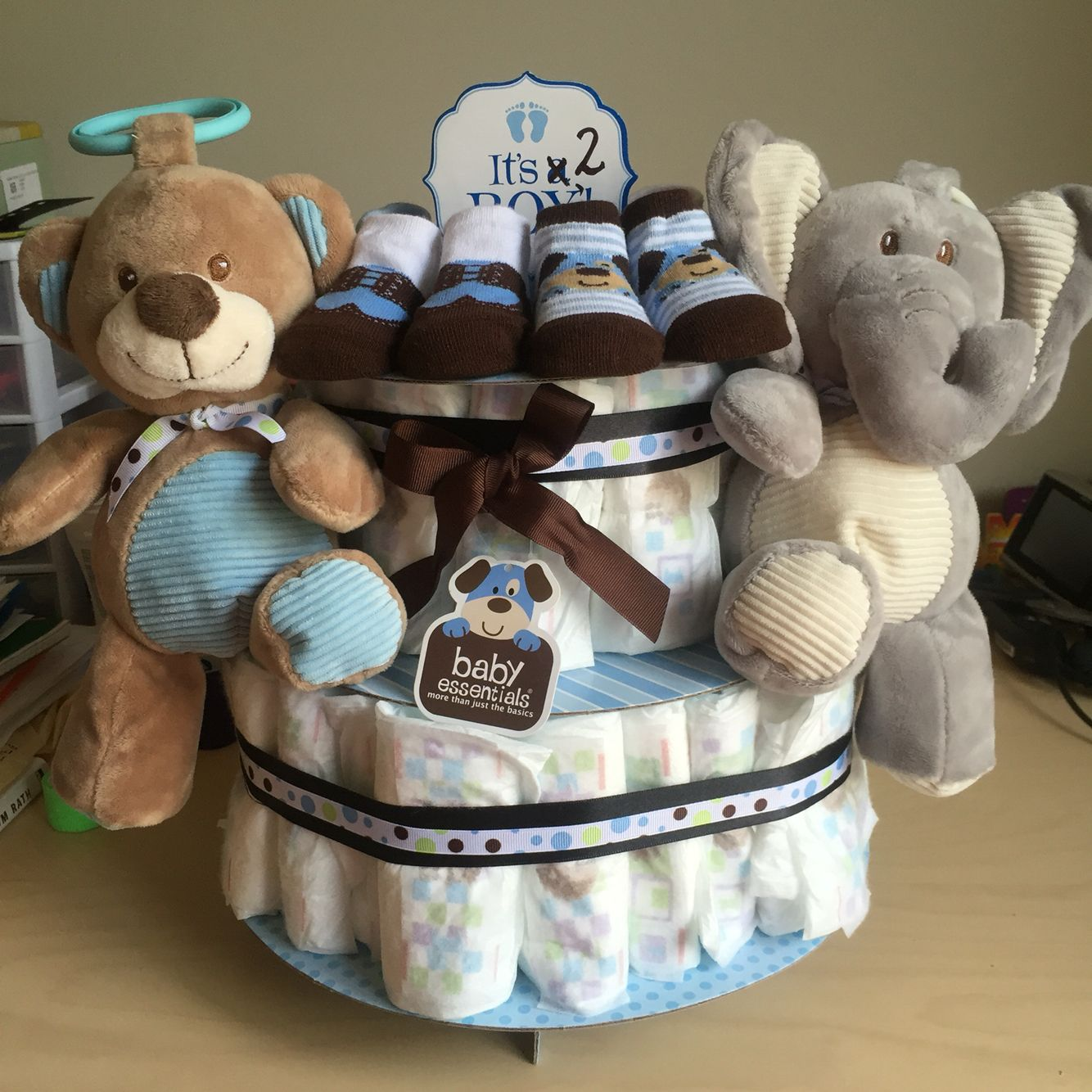 Diaper cake twin boys cupcake stand from hobby lobby
