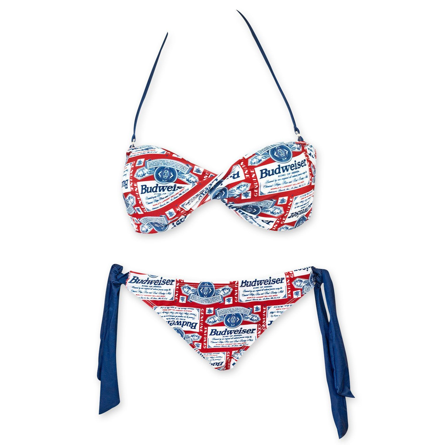 e3d15db8f9d01 Make a splash in this women s white and red Budweiser twist top bikini.  This bikini