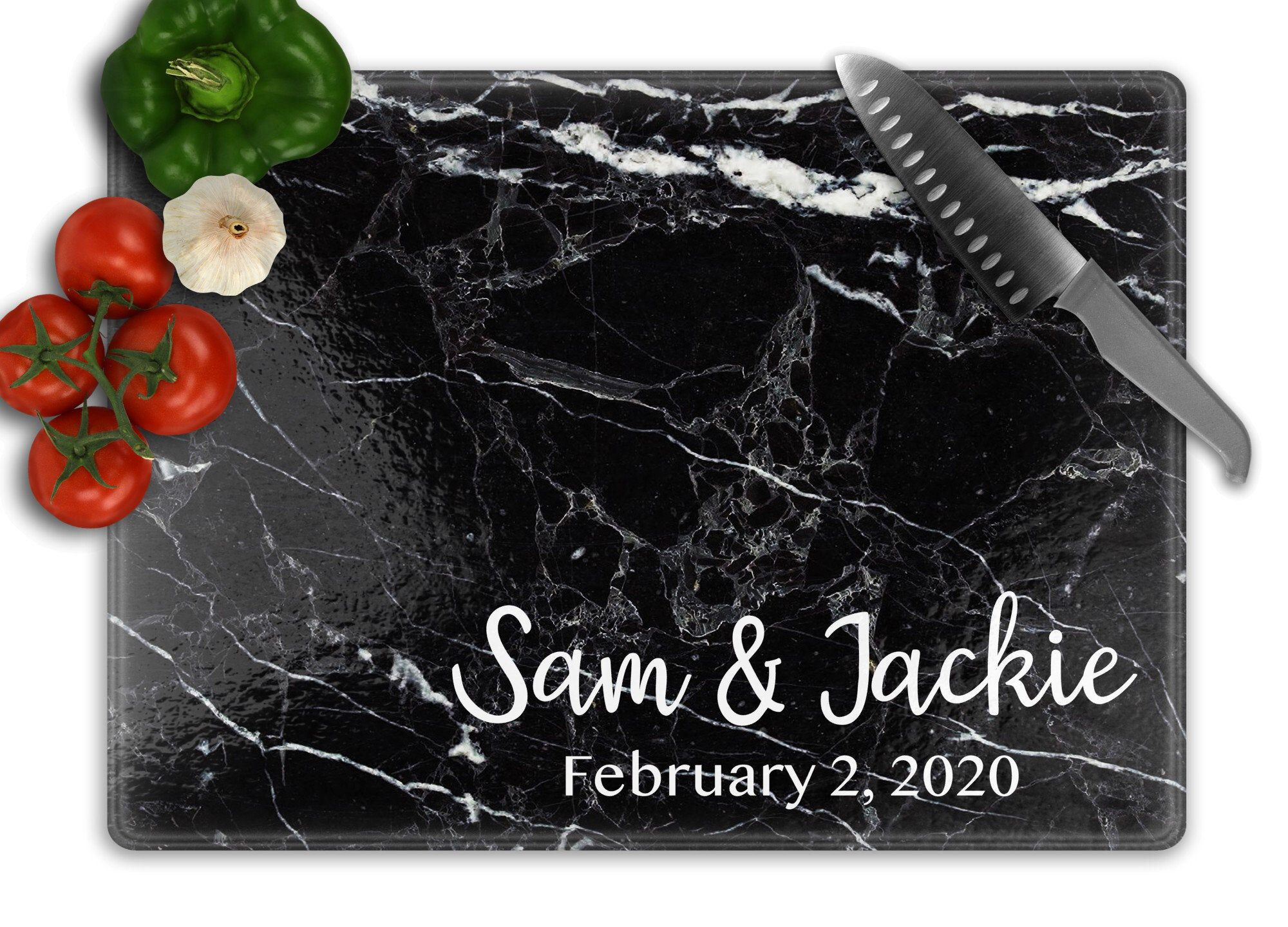 Custom Glass Cutting Board, Personalized Cutting Board, Kitchen Cutting Board, Wedding Gift for Couple, Valentine's Day Gift for Her