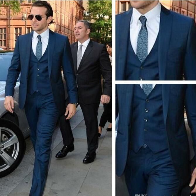 Custom made 2016 Black Navy Blue Groom Tuxedos Slim Fit Mens Wedding ...
