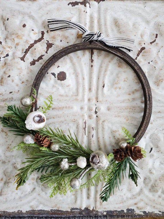 Photo of 6″ winter greens hoop wreath