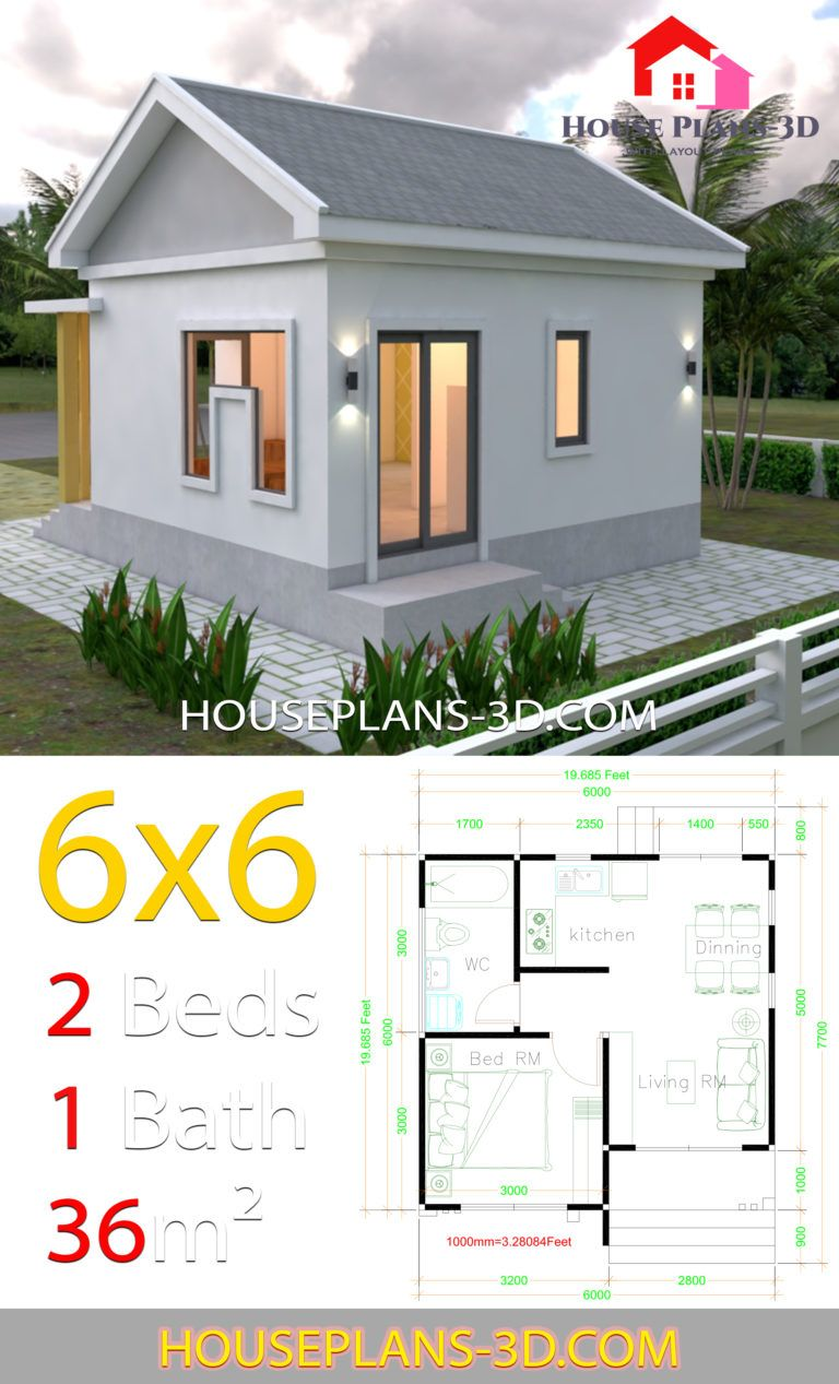 House Plans 6x6 With One Bedrooms Gable Roof House Plans 3d One Bedroom House Plans Guest House Plans Small House Design Plans