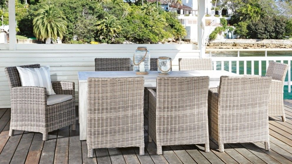 Capella 9 Piece Outdoor Dining Setting Living Furniture Bbqs Harvey Norman Australia