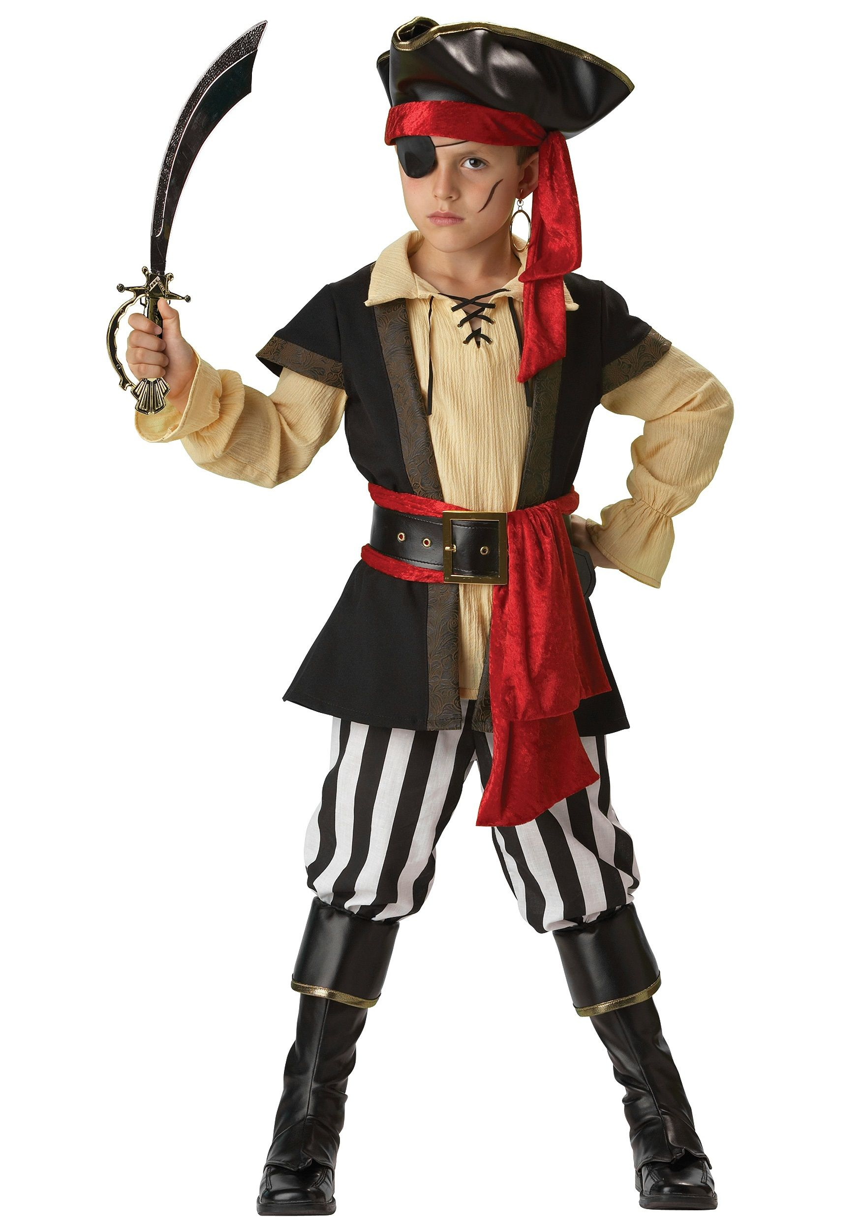 This boys scoundrel pirate costume is a fun kids pirate costume this  Halloween. Wear this pirate captain costume and become a true buccaneer!