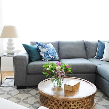 Gray Linen Sectional with Blue PIllows