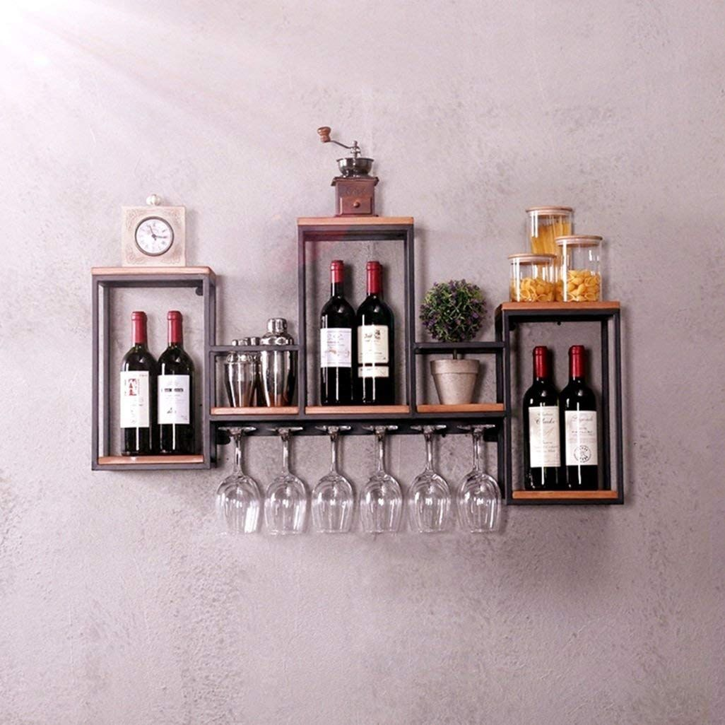 Industrial Wall Mounted Loft Retro Iron Metal Wine Rack Shelf Wine Bottle Glass Rack Bar Shelf Wood Hol Wine Glass Storage Hanging Wine Rack Wine Rack Shelf