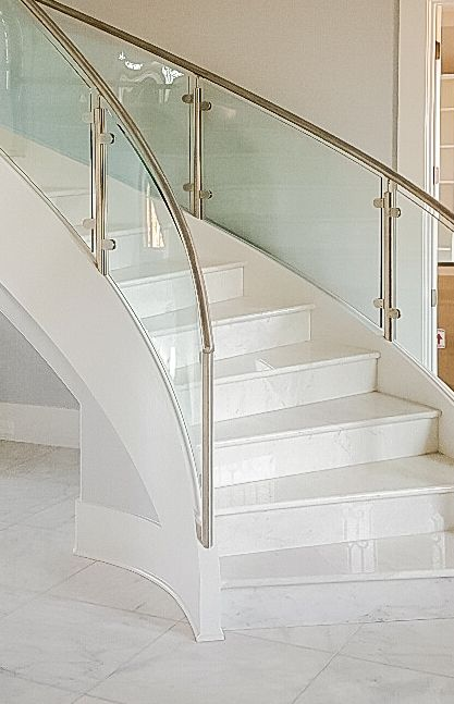 Modern Curved Staircase With Stainless Steel And Glass | Steel Railing With Glass For Stairs