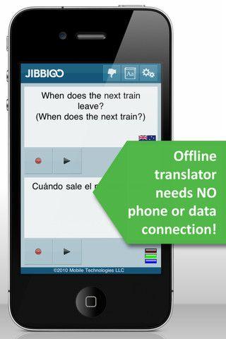 Jibbigo language translator that can work offline; speak