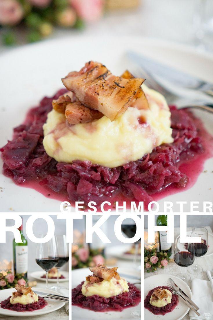 Geschmorter Rotkohl mit Kartoffelpürree und Bauchspeck. Ein echter Genuss!