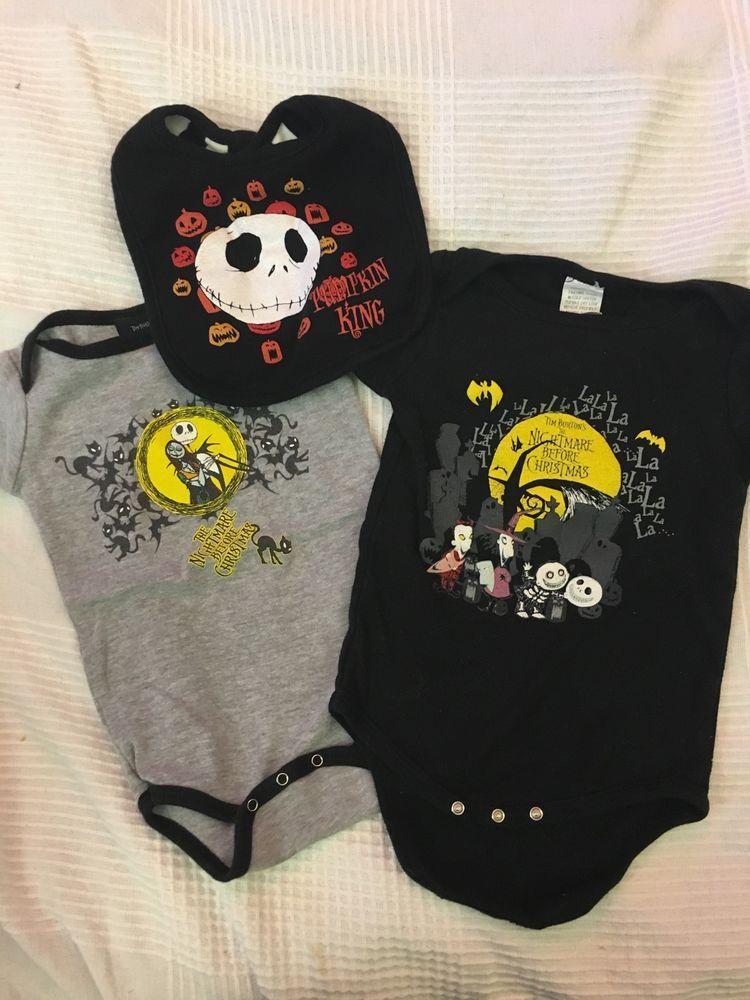 7866453fa LOT NIGHTMARE BEFORE CHRISTMAS BABY ONESIES ANS BIB JACK SKELLINGTON #Disney