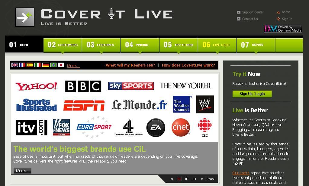 Cover it Live, una de las plataformas preferidas para chatear con nuestros lectores.