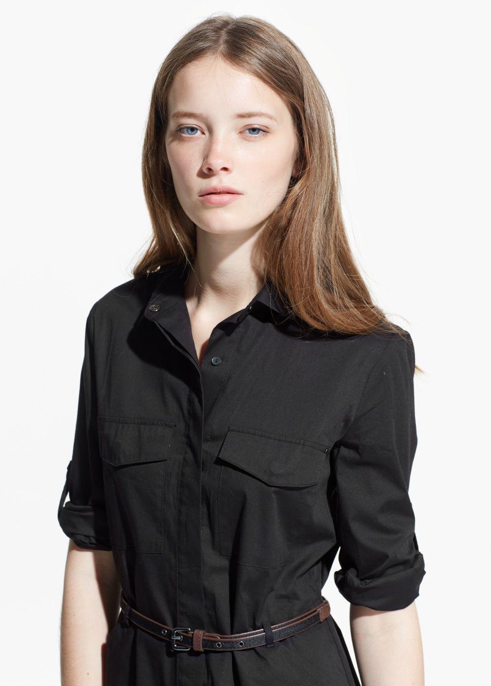 Belted-waist shirt dress