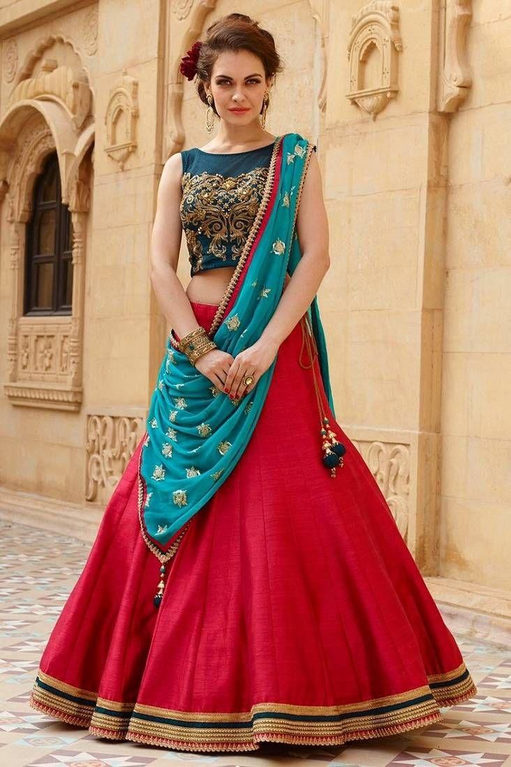 1137aa9287 Red banglori silk embroidered unstitched lehenga choli | Punjabi ...