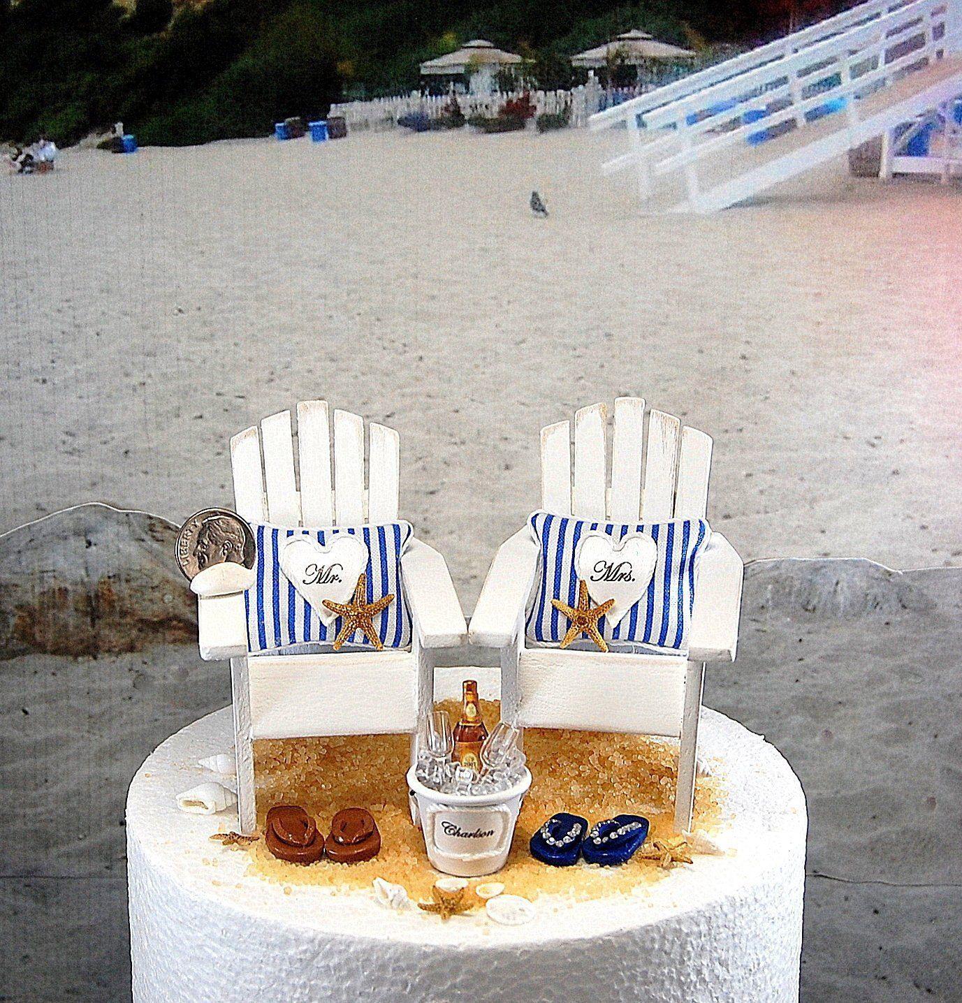 a913b2af123d BEACH WEDDING CAKE 6 Inch Topper