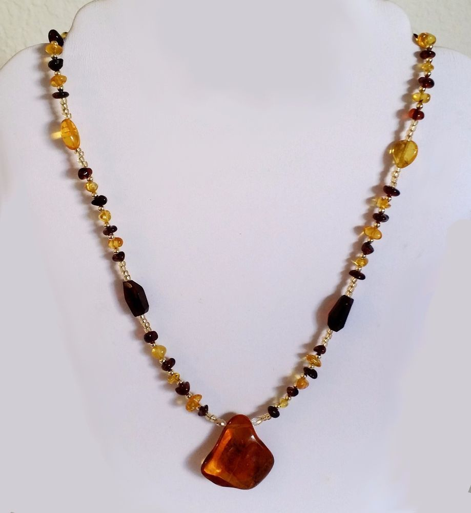 Genuine Natural Baltic Amber Antique Style Necklace Butterscotch Cognac Cherry #Handmade