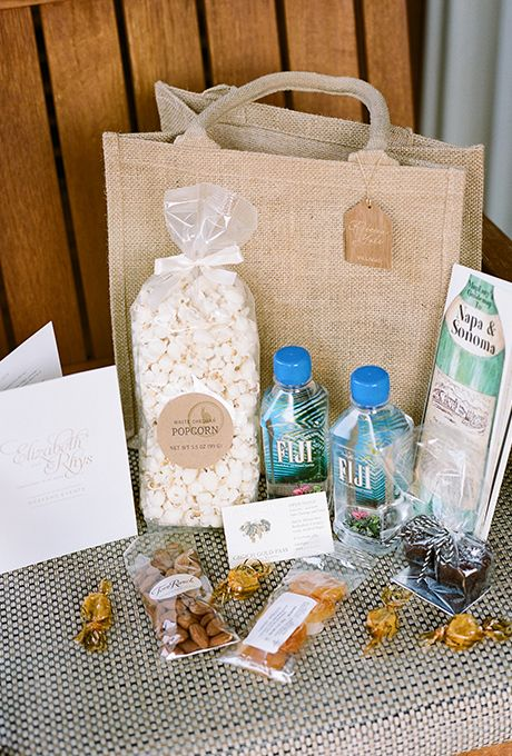 Creative wedding welcome bag ideas planning tips ideas fill welcome bags with snacks like popcorn nuts and sweet treats brides junglespirit Image collections