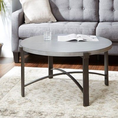 silverwood lewis coffee table with round concrete finish top gray in rh pinterest com