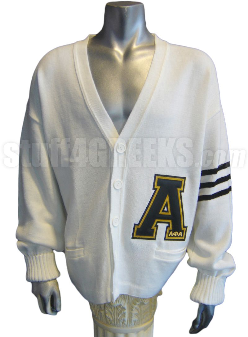 white alpha phi alpha varsity letter cardigan with black stripes and large a item