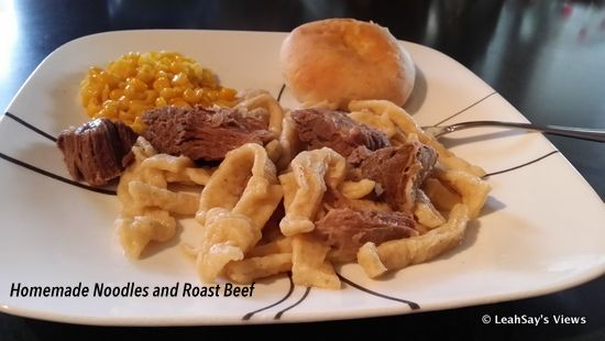 What's for dinner... Homemade Egg Noodles and Roast Beef. Yum... Yum.   Link Up Your Favorite #Recipe #Homemade #Noodles #Roast