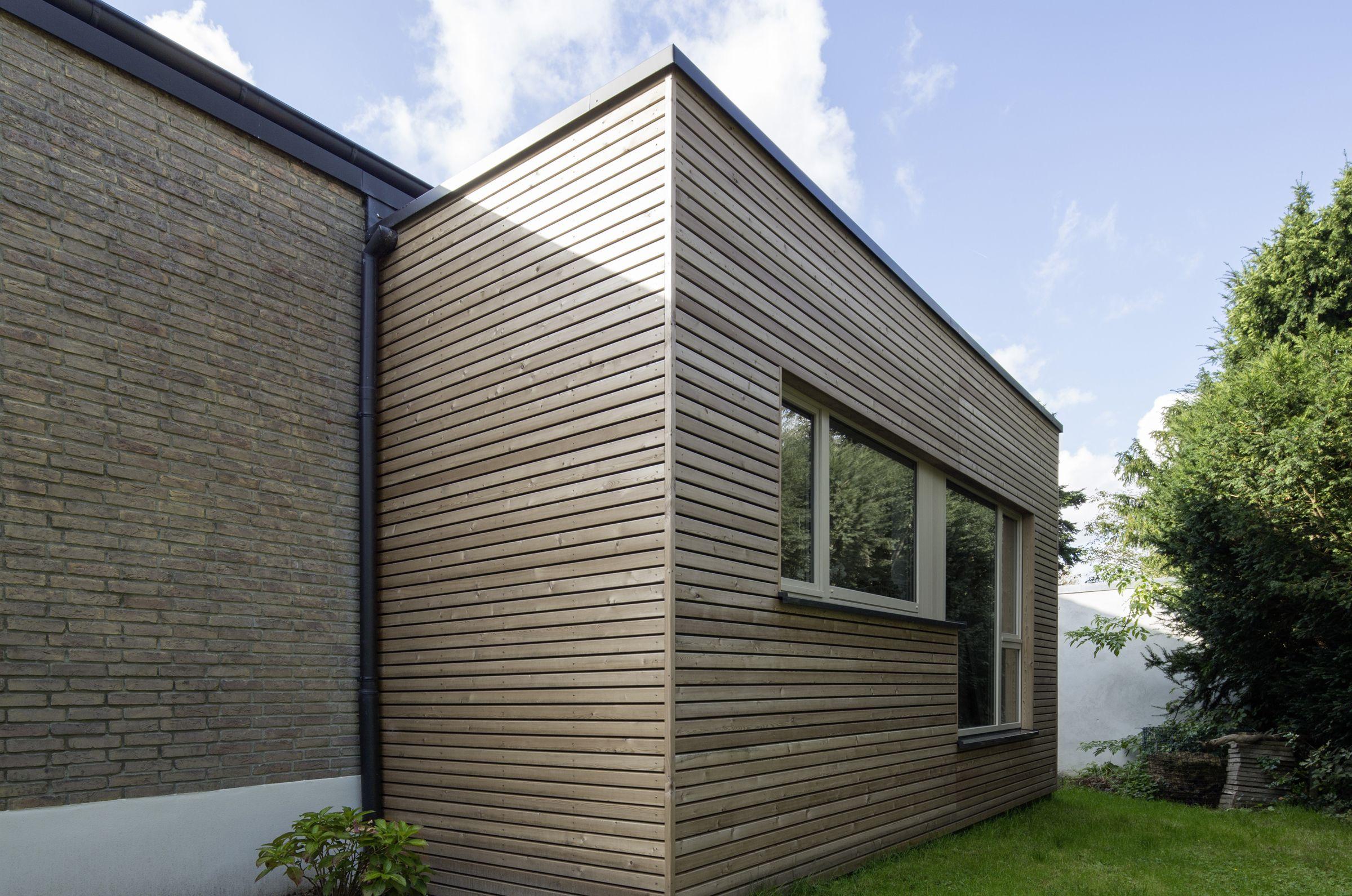 haus m m nster erweiterung wohnraum mit l rchenholzschalung a n b a u e r w e i t e r u n. Black Bedroom Furniture Sets. Home Design Ideas