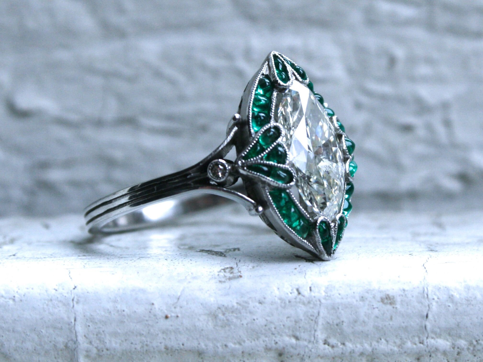 Vintage Art Deco Platinum Navette Emerald and Marquise Diamond Ring Engagement Ring - 2.82ct. by GoldAdore on Etsy https://www.etsy.com/listing/548188713/vintage-art-deco-platinum-navette