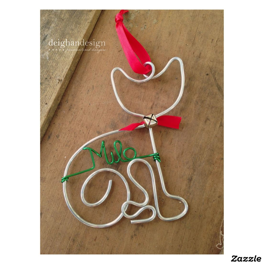 Adorable Cat Holiday Wire Christmas Ornament