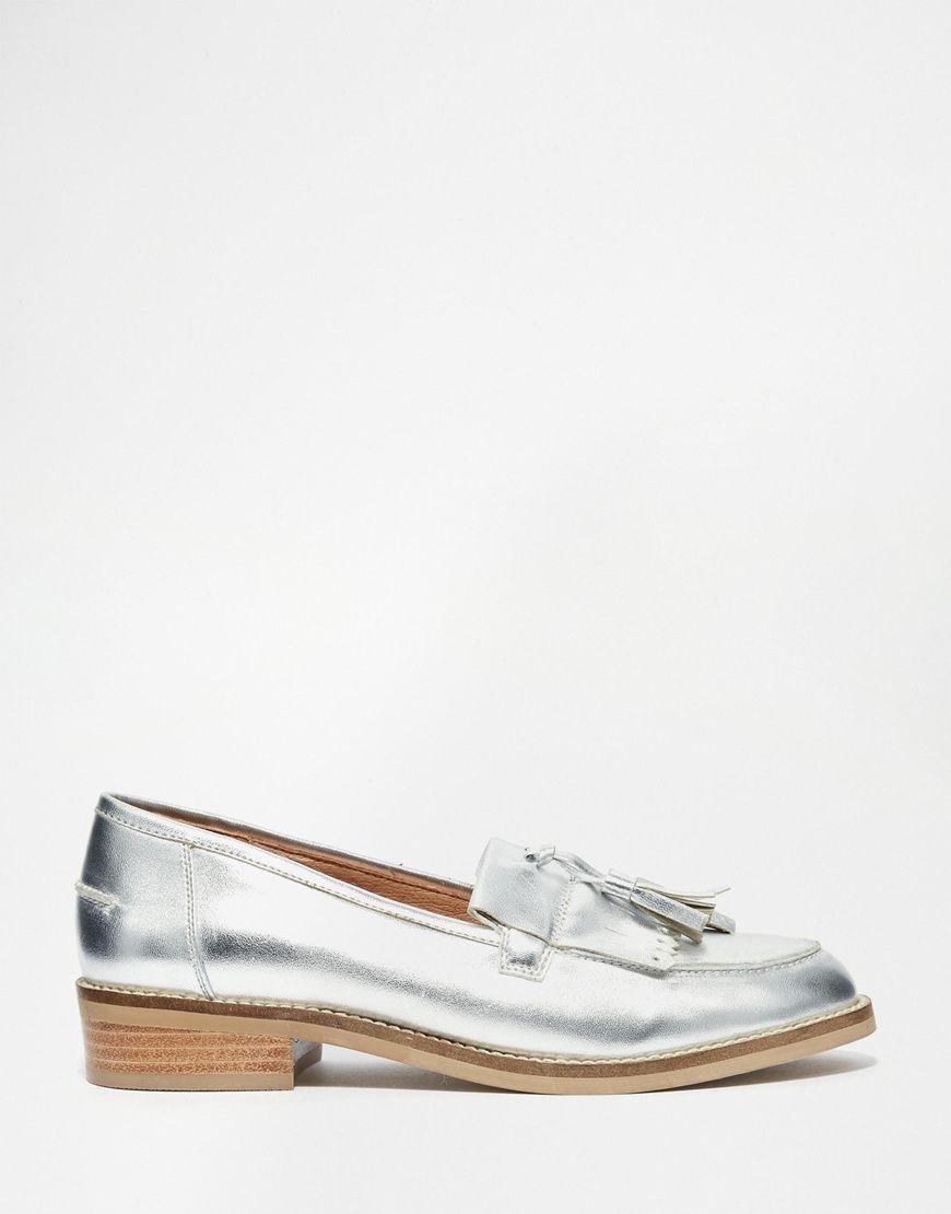 Buy Women Shoes / Steve Madden Meela Silver Tassel Flat Loafer Shoes