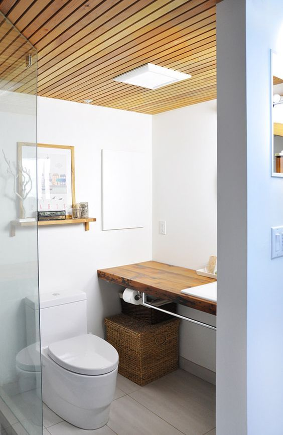Separate Plank Wooden Ceiling Wooden Bathroom Bathroom Ceiling Design Bathroom Design Small bathroom bathroom ceiling design