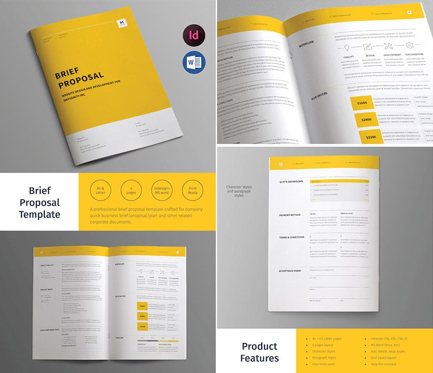 Business Brief Proposal Template Design Editorial Pinterest