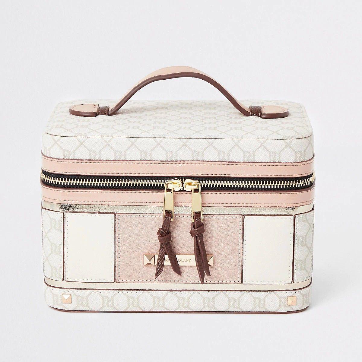 Light Pink Ri Monogram Vanity Case Makeup Bag Bags Womens Purses