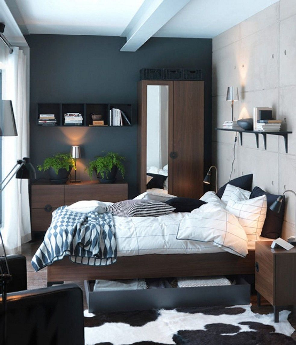 Small bedroom design ideas for couples with black cabinet furniture