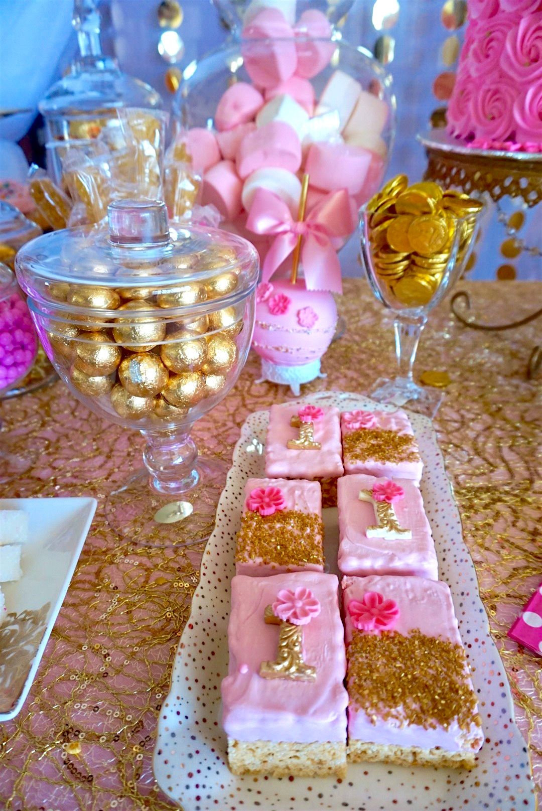 Candy buffet ideas for sweet sixteen - Pink Gold Rice Krispy Treats With Gold Glitter Candy Tablegold Glittersweet 16riceparty