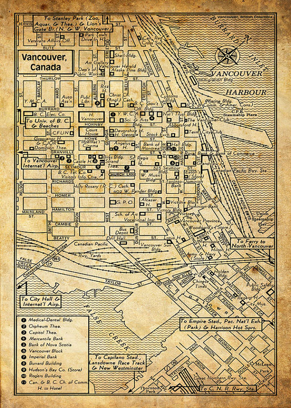 This is reproduction of a vintage 1947 map of the downtown area of Downtown Vancouver Bc Map on