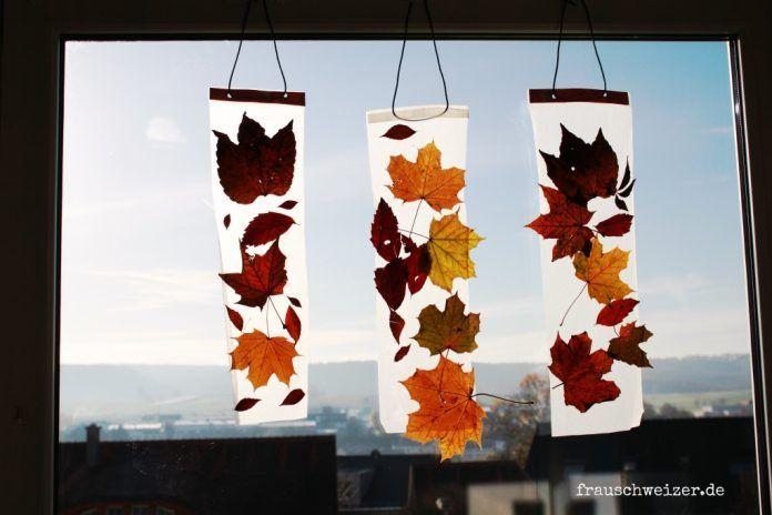 Anleitung: Kinder basteln ein Fensterbild mit Herbstlaub - anleitung fensterbild...