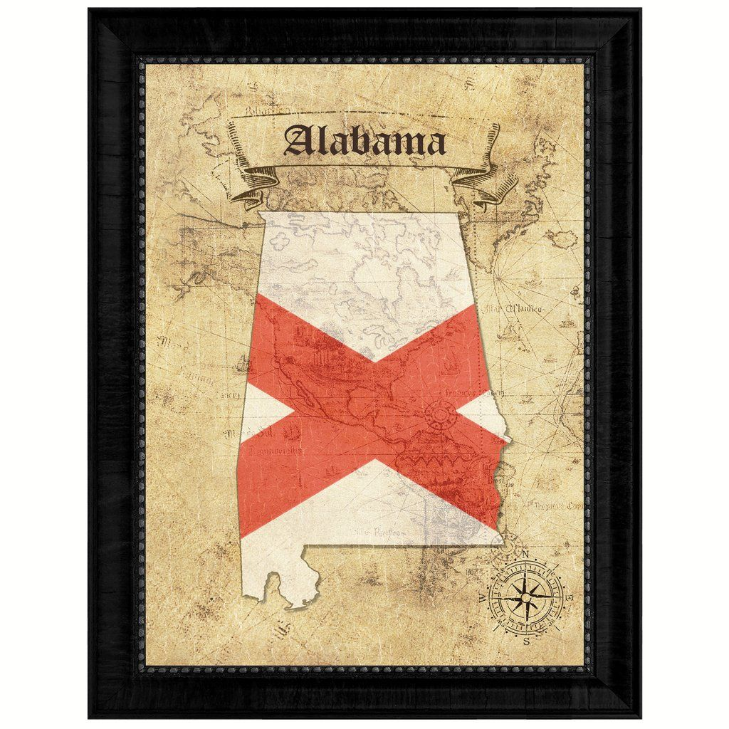 Alabama State Vintage Map Gifts Home Decor Wall Art Office ...