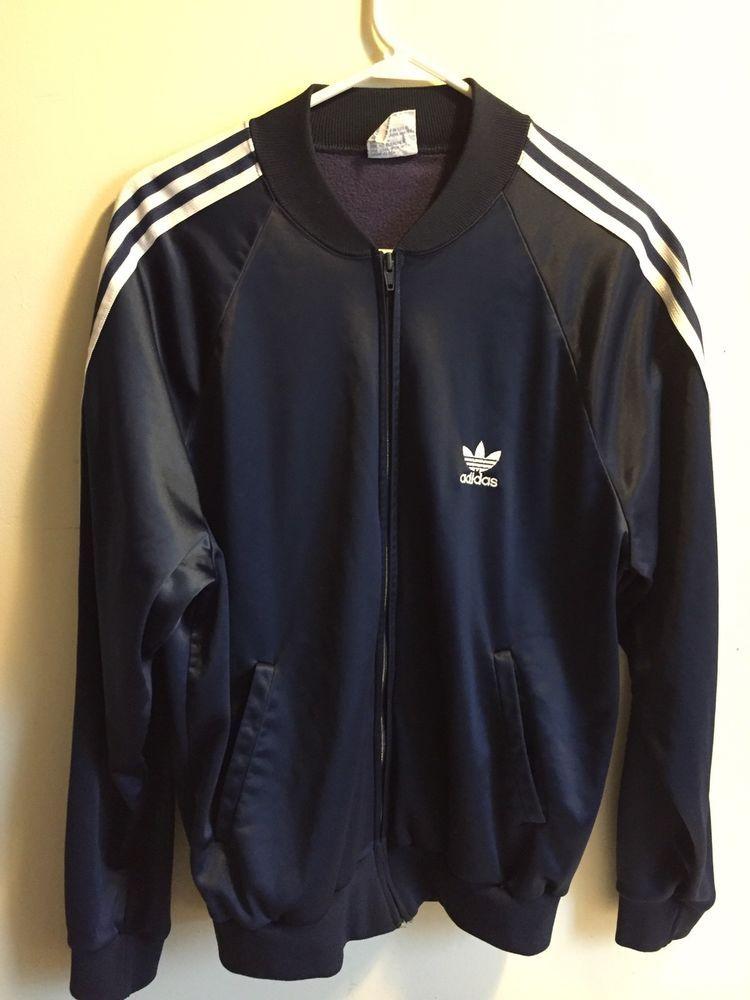 14a366232392 VTG 70s 80s ADIDAS ATP Keyrolan ATP Jacket SZ L Dark Blue White MADE IN USA   adidas  TrackJacket