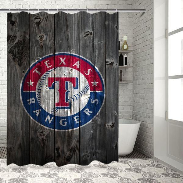Texas Ranger Wood Logo Shower Curtain Set The Theme Of Bathroom With A