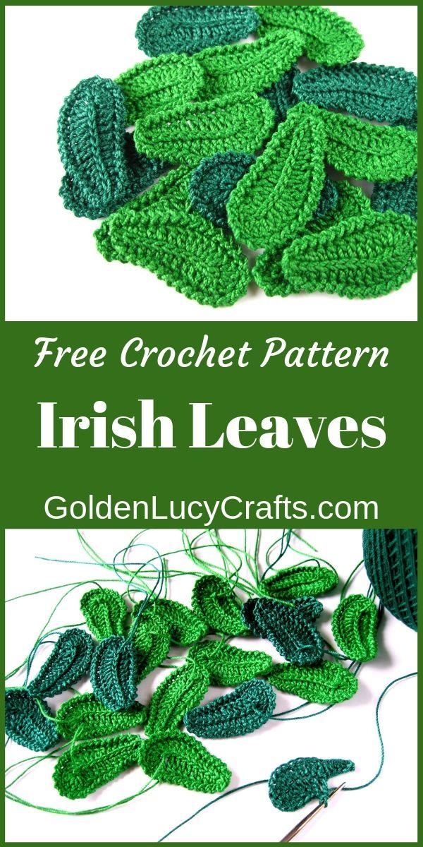 Crochet Leaf, Irish Lace Motif, Free Crochet Pattern - GoldenLucyCrafts