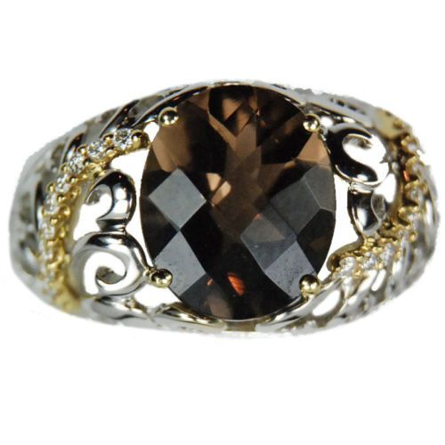 ***CYBER MONDAY ON EBAY, 50% OFF AUCTION NO RESERVE, ENDING 12/1*** $387.50 Bold-Smokey-Topaz-and-Diamond-18k-White-Yellow-Gold-Ring-50-OFF-NO-RESERVE
