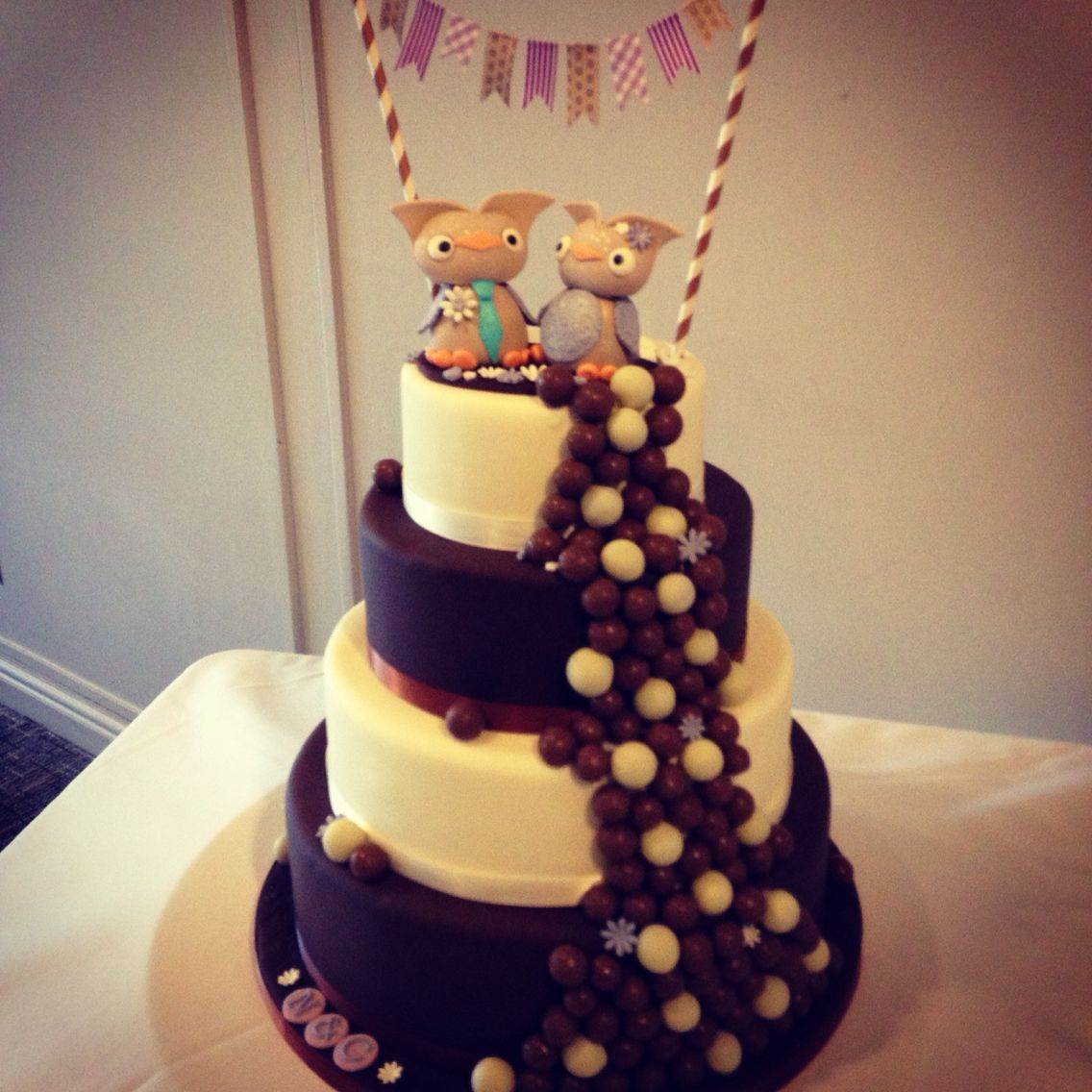 4 tier owl wedding cake. White chocolate and dark chocolate tiers. With a waterfall of Maltesers