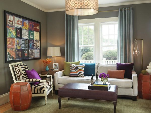 Colorful Modern Living Room With Grey Walls By Rachel Reider Interiors Paint Pick Stone Harbor Benjamin Moore
