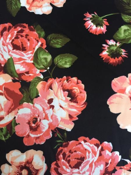"Scuba Knit Fabric: Tea Garden Floral, Autumn Palette on Black Perfect for more structured garments such as pencil skirts, jackets and dresses. 58-60"" Wide Conte"